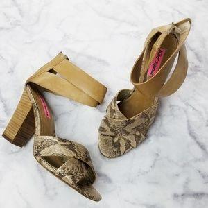 Betsey Johnson|Snake Print Bazar Block Heels